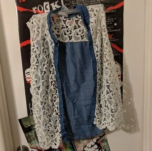 PLUS SIZE White Lace and Faux Denim cover-up